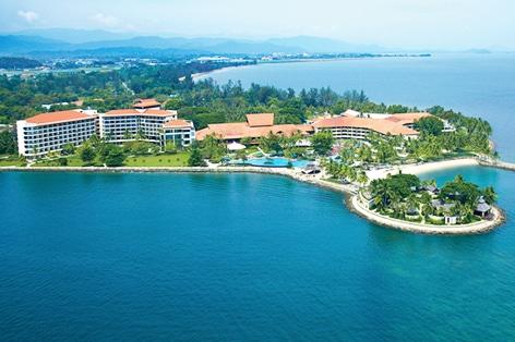 海外旅行 ボルネオ島 シャングリラ・タンジュン・アル・リゾート&スパ ホテル外観(イメージ)岬から眺める夕陽と海の美しさに感動